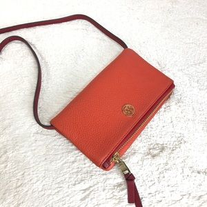 🌸OFFERS?🌸Tory Burch Leather Red Orange Crossbody